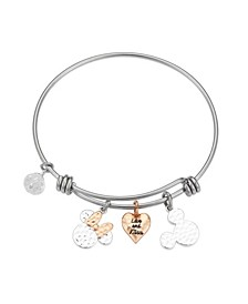 "Two-Tone Mickey and Minnie Mouse ""Love and Kisses"" Bangle Bracelet in Fine Silver Plate"