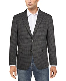Men's Modern-Fit Gray/Navy Check Sport Coat