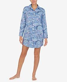 로렌 랄프로렌 잠옷 슬립 셔츠 Lauren Ralph Lauren Printed Woven Sleep Shirt,Blue Pais