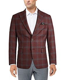 Men's Slim-Fit Burgundy Plaid Sport Coat