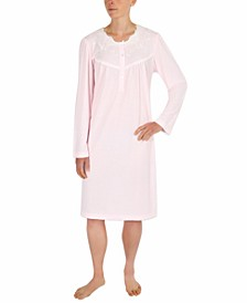 Embroidered Lace-Trim Nightgown