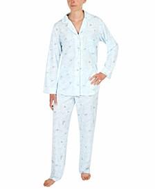 Printed Honeycomb Knit Pajama Set