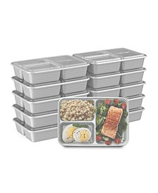 Food Prep 3-Compartment Food Storage Containers, Pack of 10