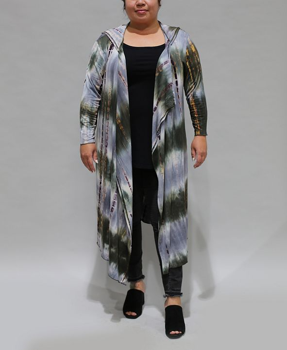 COIN 1804 Women's Plus Size Tie Dye 3/4 Sleeve Hoodie Duster