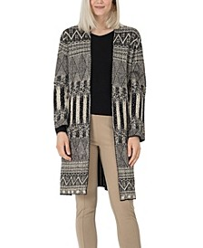 Women's Patterned Longline Cardigan -- Comparable Value $129