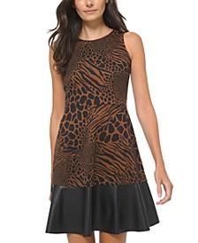 Printed Faux-Leather Trim Dress