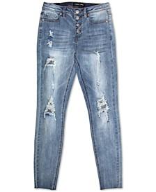 Juniors' High-Rise Destructed Skinny Jeans