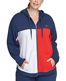 Plus Size Colorblocked Zip-Up Hoodie