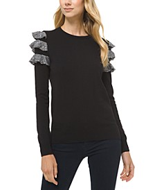 Sequin Ruffle Sleeve Sweater