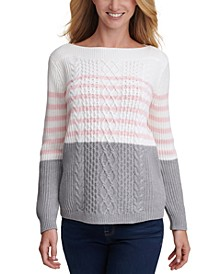 Cate Veri Striped Cable-Knit Sweater