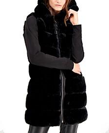 Grooved Hooded Faux-Fur Vest