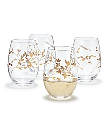 Gold Floral Etched Stemless Wine Glasses, Set of 4, Created for Macy's