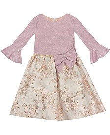 Toddler Girl Glitter Knit And Jacquard Dress