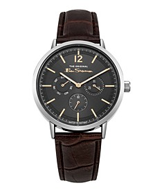 Men's Brown Synthetic Leather Strap Multifunction Watch, 40mm