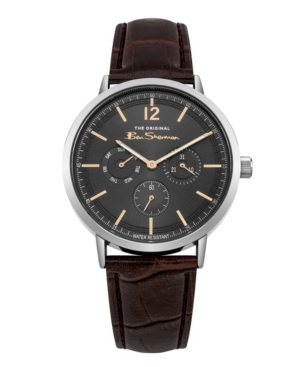Men's Brown Synthetic Leather Strap Multifunction Watch