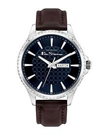 Men's Dark Brown Genuine Leather Strap Classic Three Hand Watch, 43mm