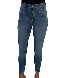 Juniors' Curvy High Rise Cotton Corset Skinny Jeans