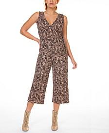 Cheetah- Print Faux-Wrap Culotte Jumpsuit, in Regular & Petite