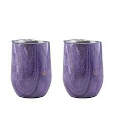 12 Oz Geode Decal Stainless Steel Wine Tumblers, Pack of 2
