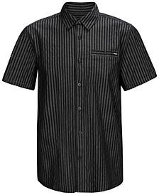 Men's Classic-Fit 4-Way Stretch Zig-Zag Stripe Chambray Shirt