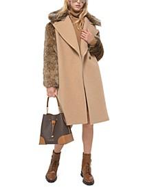 Wool Faux-Fur-Contrast Coat