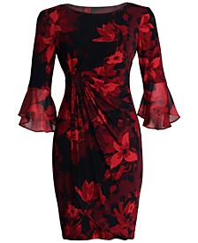 Plus Size Ruffled-Sleeve Sheath Dress