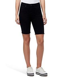 High Rise Denim Bermuda Biker Shorts