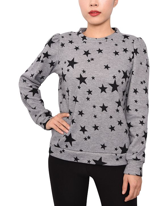 Derek Heart Juniors' Puff-Sleeve Star-Print Sweatshirt