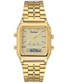 Men's Analog-Digital Gold-Tone Stainless Steel Bracelet Watch 32.5mm