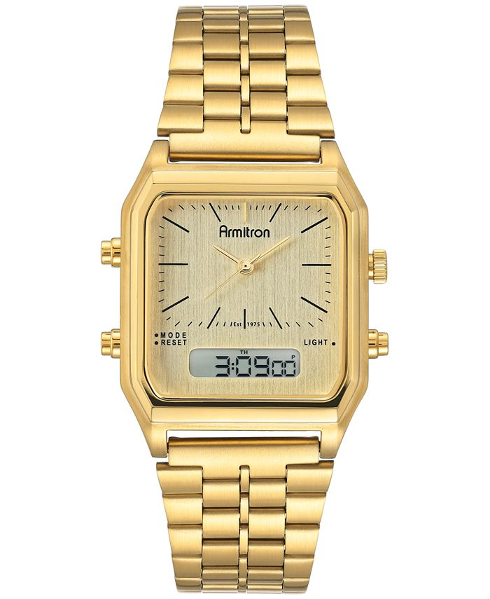 Armitron - Men's Analog-Digital Gold-Tone Stainless Steel Bracelet Watch 32.5mm