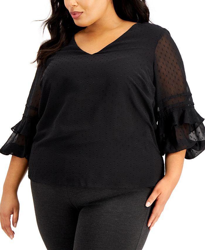 Calvin Klein - Plus Size Ruffle-Sleeve Top