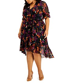 Plus Size Floral-Print Faux Wrap Dress
