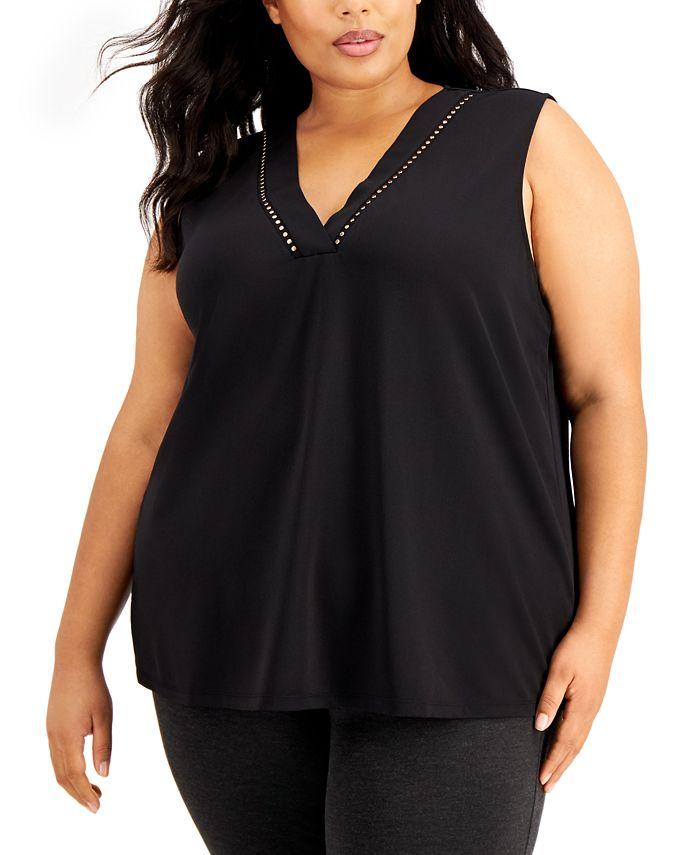 Calvin Klein - Plus Size Sleeveless Stud-Detail Top