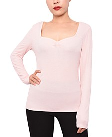 Juniors' Rib-Knit Sweetheart-Neckline Top
