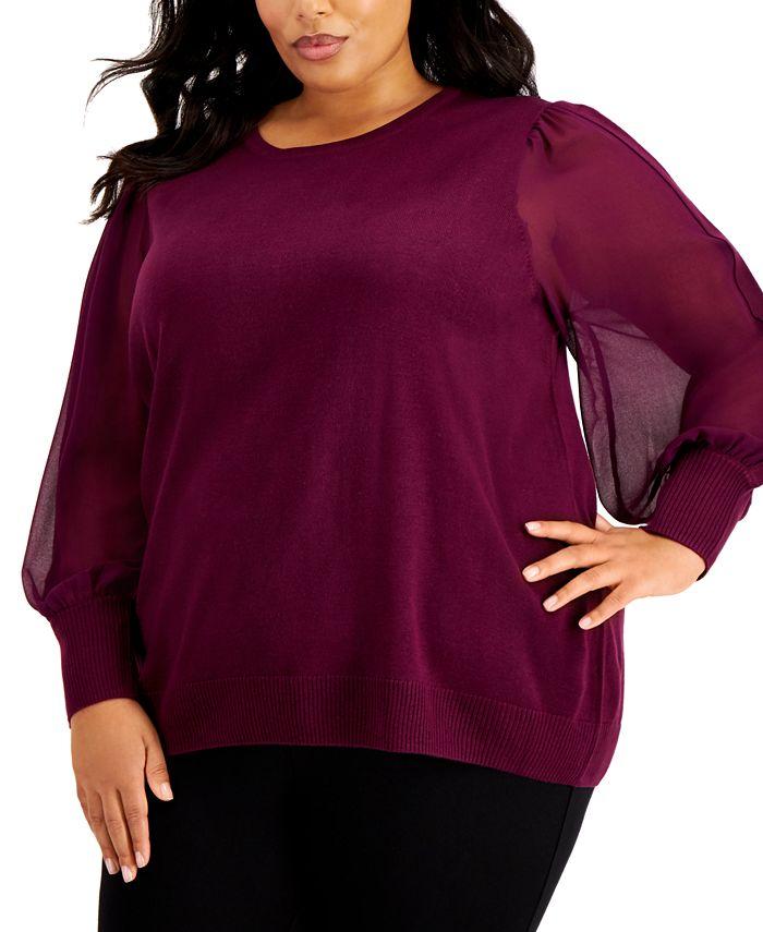 Calvin Klein - Plus Size Sheer-Sleeve Blouse