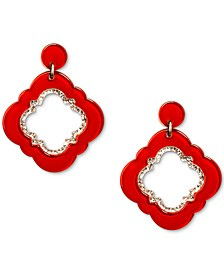 Gold-Tone Glitter-Trim Colored Quatrefoil Drop Earrings