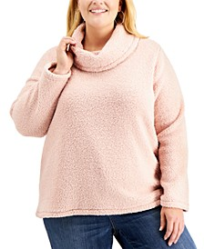 Plus Size Fleece Cowlneck Sweater, Created for Macy's