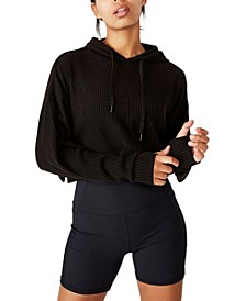 Women's Rib Cropped Hooded Sweatshirt