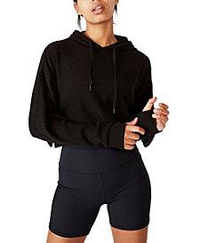 COTTON ON Women's Rib Cropped Hooded Sweatshirt