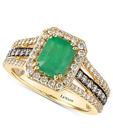 Emerald (1-1/5 ct. t.w.) & Diamond (3/4 ct. t.w.) Ring in 14k Gold