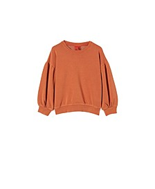 Little Girls Posie Puff Sleeve Sweater
