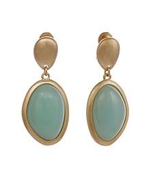 Gold-Tone Oval Drop Clip Earrings