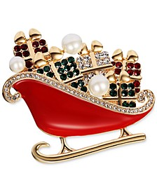 Gold-Tone Crystal & Imitation Pearl Sleigh Pin, Created for Macy's