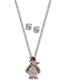 Silver-Tone Crystal Penguin Pendant Necklace & Stud Earrings Set, Created for Macy's