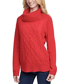 Cable-Knit Cowlneck Sweater