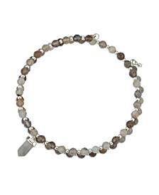 Fine Silver Plated Stone Coil Bracelet in Genuine Amethyst, Rose Quartz or Labradorite