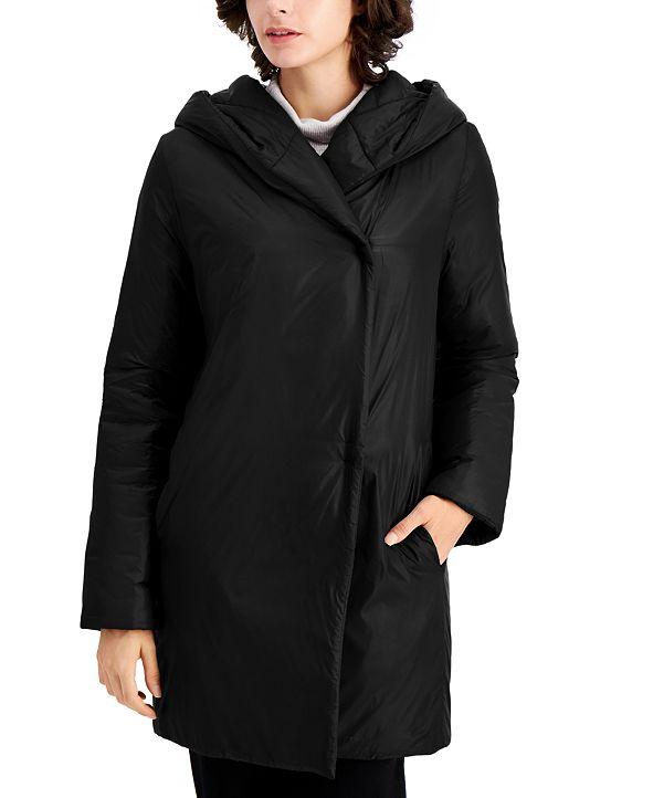 Eileen Fisher Hooded Shawl-Collar Coat