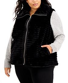 Plus Size Faux Fur Zipper Vest