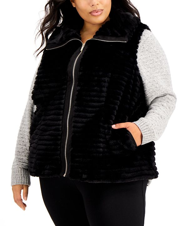 Calvin Klein Plus Size Faux Fur Zipper Vest