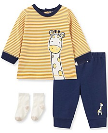 Little  Me Baby Boy and Girl Giraffe Jogger Set and Sock